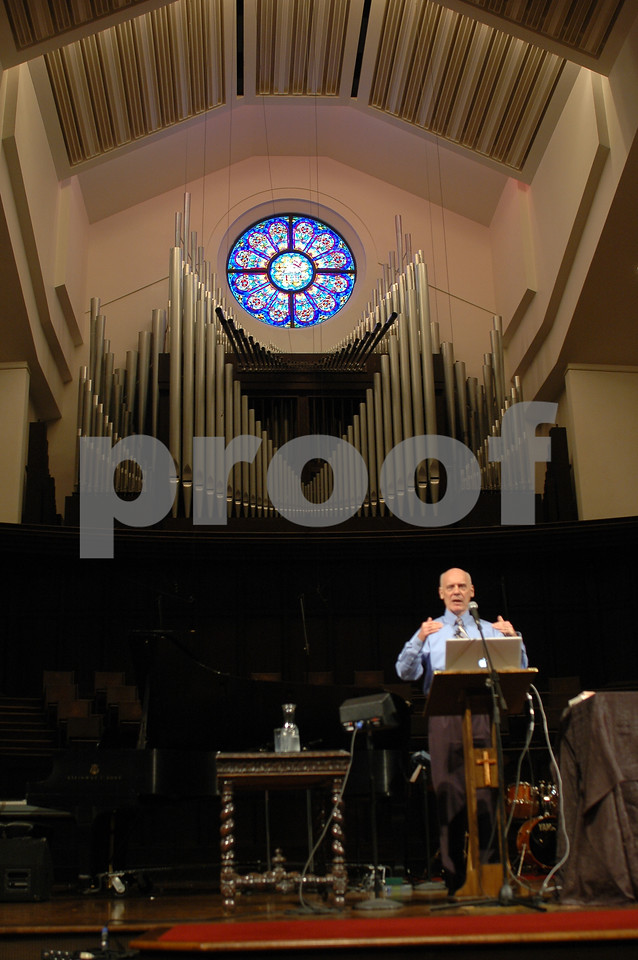 Dr. Hugh Ross speaks on his view of biblical and scientific creation at a conference at Briarwood Presbyterian Church in Birmingham, Alabama.