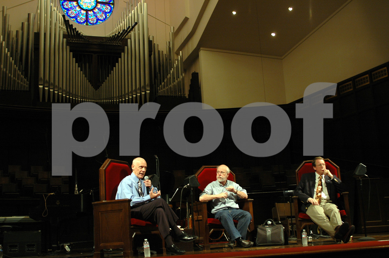 Hugh Ross, Michael Behe and Terry Mortenson at a roundtable on various views of creation.