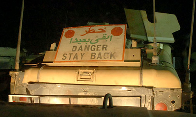 May 11, 2006:<br /> Upon arriving in Iraq a humvee transports troops from Talil Air base to Camp Cedar.
