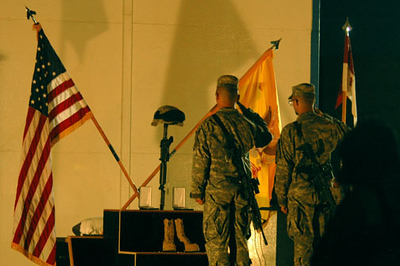 May 6, 2006:<br /> Members of Sgt. SakodaÕs unit pay their final respects to the fallen<br />  soldier.