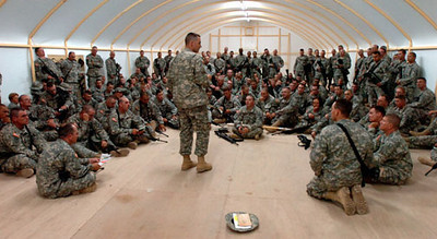 May 10, 2006:<br /> Captain Christopher Warner, Commander of the 1016th Quartermaster Co., addresses his troops prior to leaving for Iraq.