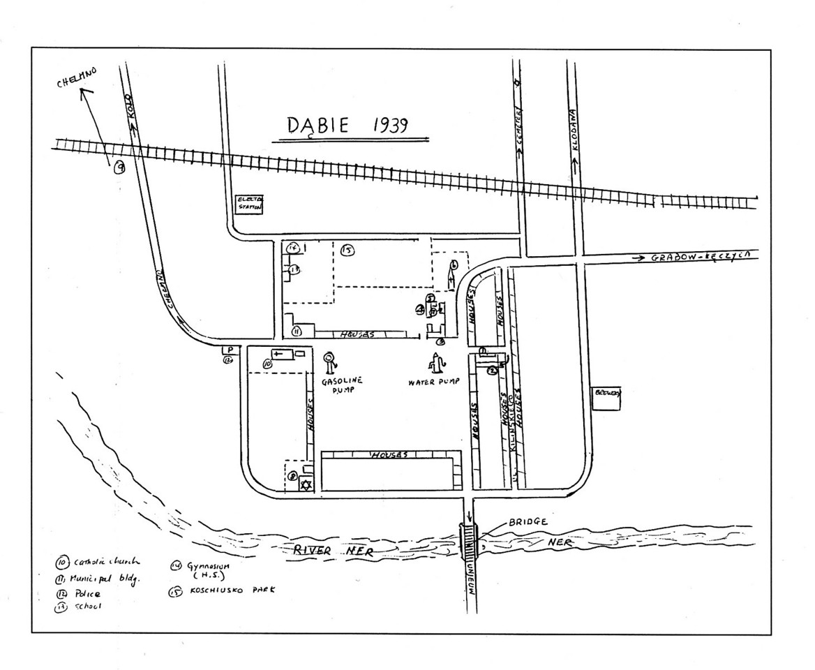 Dabie, 1939<br /> <br /> Prior to our departure for Poland, my father drew a map of his home town of Dabie as he remembered it in 1939. On it he located the familiar landmarks around the town square: the gasoline and water pumps, the bridge spanning the Ner River, the synagogue and Catholic church, and the roadways leading to the neighboring towns in the district - Klodawa, Grabow and Chelmno. He also precisely noted the site of his boyhood home on a narrow side street named ul. Kilinskiego.