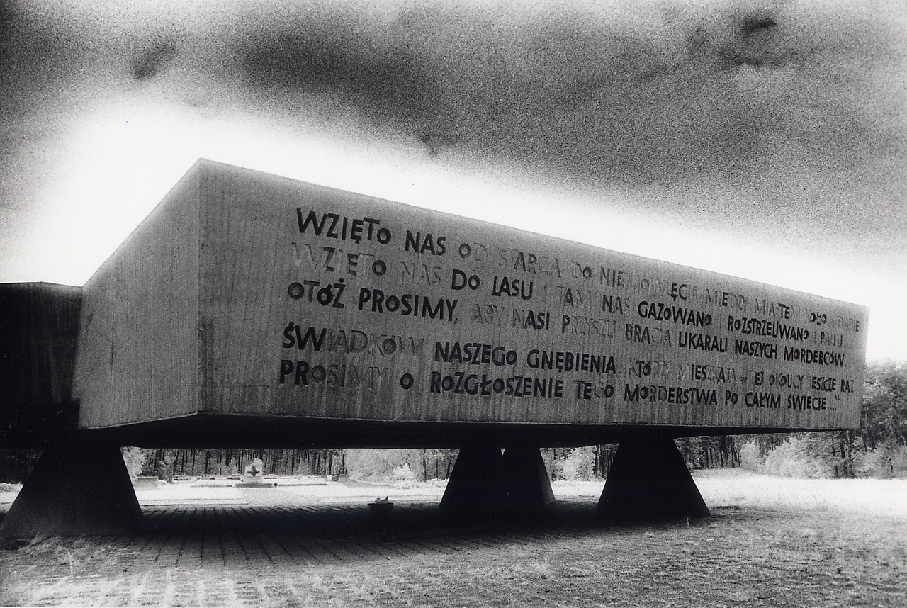 """Memorial Inscription, Chelmno<br /> <br /> """"From infants to the aged - We were taken from the towns of Kolo and Dabie.<br /> We were taken to the forest and there we were put to death by gas, shot wounds and fire.<br /> We are pleading with our brothers who witnessed our plight to punish the murderers who live in this area.<br /> Once again we cry out - let the murderers be known throughout the entire world.""""<br /> <br /> A grim exhibit was housed near this massive memorial. On display inside were Nazi records of the liquidation of the Jewish population in the surrounding district. We read that 920 Jews from Dabie were transported to Chelmno between December 14 - 19, 1941. In total, approximately 350,000 Jews were turned to ash at Chelmno."""