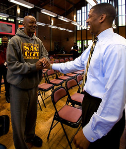 Sacramento mayoral candidate Kevin Johnson greets a supporter at Sacramento City College on April 21, 2008.