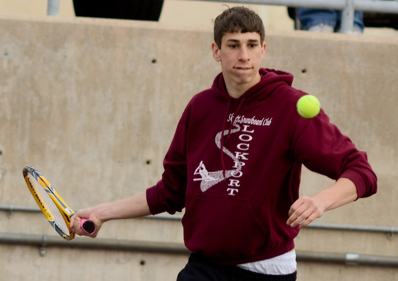Lockport's Matt Monte plays doubles with John Kalmanek, Tuesday, March 27 during a quad tournament at Lockport Township High School. photo for 22nd Century Media by Jean Lachat
