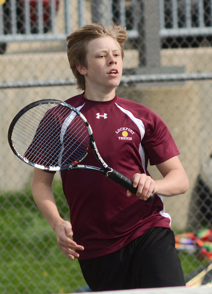Lockport's Kevin Roberts plays singles, Tuesday, March 27 during a quad tournament at Lockport Township High School. photo for 22nd Century Media by Jean Lachat