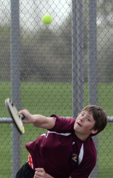 Lockport's Frank Gabriel plays doubles with Tim Cruz, Tuesday, March 27 during a quad tournament at Lockport Township High School. photo for 22nd Century Media by Jean Lachat