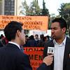 «Esta manifestación tiene como objetivo denunciar que el despojo en Colombia continúa y que también involucra a algunos actores del Estado», explica Franklin Castañeda, vocero nacional del MOVICE y presidente de la Fundación Comité de Solidaridad con Presos Políticos, organización acompañada por PBI Colombia. <br /> Foto: PBI Colombia