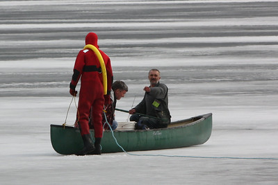 The two men were told to stay in the canoe before heading toward shore.