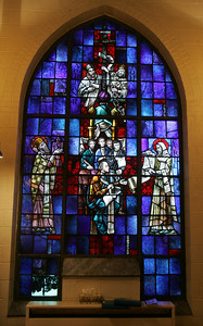 4OCT09   A stained glass window at Lorain's Ss Cyril & Methodius.        photo by Chuck Humel