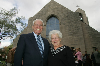 4OCT09  Leo Gorenshek of Lorain hugs his wife Bernice.  The couple was the first to get married in the church on May 30th, 1953.  The Church was build in late 1952, and dedicated on December 7th, 1952.  photo by Chuck Humel