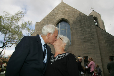 4OCT09  Leo Gorenshek of Lorain kisses his wife Bernice.  The couple was the first to get married in the church on May 30th, 1953.  The Church was build in late 1952, and dedicated on December 7th, 1952.  photo by Chuck Humel