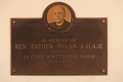 4OCT09  A plaque in the lobby of Ss Cyril and Methodius commemorates Rev. Father Milan J. Slaje.      photo by Chuck Humel