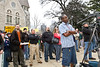 Feb 8, 2013-Atlanta, GA-Second Amendment Rally at the Georgia State Capitol-Supporters of the 2nd Amendment were out on the steps of the Gold Dome on Friday morning to rally support. <br /> <br /> There were about 250 supporters along Washington Street showing that the majority of gun owners are law abiding citizens.<br /> <br /> Gun restriction supporters staged a smaller counter-protest across the street.<br /> <br /> <br /> A heckler in the crowd seemed determined to create a stir among the supporters attending the rally. After creating a minor disturbance, he left without indentifying himself.