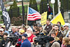 Feb 8, 2013-Atlanta, GA-Second Amendment Rally at the Georgia State Capitol-Supporters of the 2nd Amendment were out on the steps of the Gold Dome on Friday morning to rally support. <br /> <br /> There were about 250 supporters along Washington Street showing that the majority of gun owners are law abiding citizens.<br /> <br /> Gun restriction supporters staged a smaller counter-protest across the strees.
