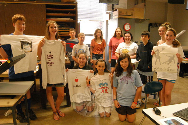 Members of this year's Newtown Continuing Education's Graphic Arts & Print Production program stood together on Wednesday, July 11.   (Hallabeck photo)