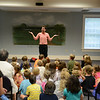 Chris Fascione acted out characters from a children's tale on Friday, June 20, at C.H. Booth Library.   (Bobowick photo)