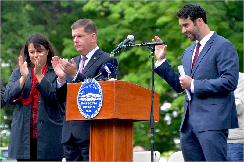Dorchester native and former US Navy Seal Stephen Butler (shown with Boston Mayor Marty  Walsh and City Councilor Annissa Essaibi-George) acknowledges applause after main speech.
