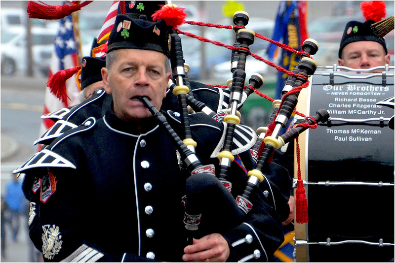 Greater Boston Firefighters Pipes and Drums start up Hill Top Street from the McKeon Post.
