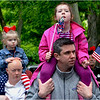 Watching the ceremony at Cedar Grove Cemetery: Cindy Monahan (left) of Dorchester with her 2 and-a-half year-old daughter Aoife McMoran and Josh Conroy (right) with 5 year-old daughter Chloe.