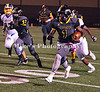 Chapel QB #1 keeps and runs for a big gain with 57 blocking with Lakeside 32 pursing (behind) and 70 far left.  Hot Springs Lakeside at Watson Chapel October 28,2016.
