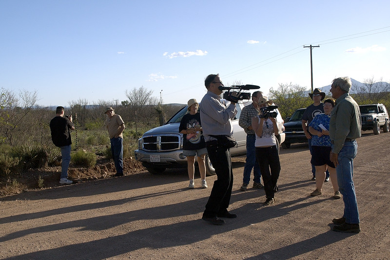 Minuteman Don, filmed by the media, holds a briefing for new volunteers in Naco, AZ, right on the border...