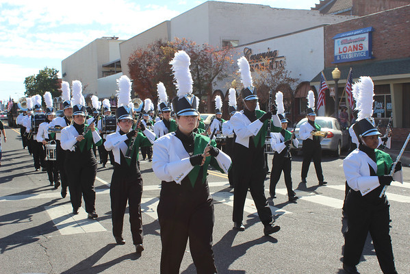 Members of the Muskogee High Marching Band perform a selection during the Veterans Memorial Parade on Saturday morning.