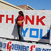 The American Federation of Government Employees float featured a giant thank card signed by locals. The float was one of several in the Muskogee Veterans Memorial Parade on Saturday morning in downtown Muskogee.