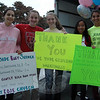 "Girl Scouts Christina DeBartolomeo, second from left, and Marina Renzi, far right, worked during their ""Curbside Baby Shower"" event on Saturday, September 22, with friends, from left, Bridget Moore, Victoria Kirkman, and Teah Renzi, to collect donations of new and gently used baby and toddler clothing and equipment to donate to the Make A Home Foundation. (Hallabeck photo)"