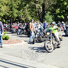 The more than 85 motorcycles left the lot at 71 South Main Street, headed out for a morning ride for the third annual Firehouse Ride to benefit Newtown Hook & Ladder Company #1. (Bobowick photo)