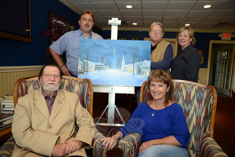 Project Newtown Troops and Veterans committee members include VFW Post 308 Commander James Rebman, standing, left, and Fred and Kaki Taylor, right. Seated is committee member Laurie McCollum, right, and artist David Merrill, who has been commissioned to create a new mural honoring Newtown's veterans. (Bobowick photo)