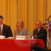 From left, Senator Andrew Roraback, Justin Bernier, Lisa Wilson Foley and Mark Greenberg hear closing remarks from moderator Pat Caruso as the candidates closed out a 5th District Republican debate held at Edmond Town Hall July 2. Forum questions on issues from health care and growing businesses to the future of Medicare and Medicaid, were posed by First Selectman Pat Llodra, local attorney Robert Hall, Robert Geckle and Andrew Markowski, representing the Connecticut office of the National Federation of Independent Business. Click here to listen to an audio transcript of the event. (Voket photo)