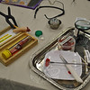 Professional quality paint makeup and lots of gruesome items are part of Ms Wilcox's travel kit when she teaches humans how to become zombies.   (Crevier photo)