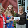 University of Connecticut junior and Newtown High School graduate Samantha Allen, second from left, is pleased to accept the $2,500 Janice B. Van Syckle Scholarship, Wednesday, August 15, from Newtown VNA representatives from right, Maureen McLaughlin and Sally Schwerdle, and Mae Schmidle, left. The scholarship is awarded to a Newtown graduate pursuing a bachelor of science in nursing degree. (Crevier photo)
