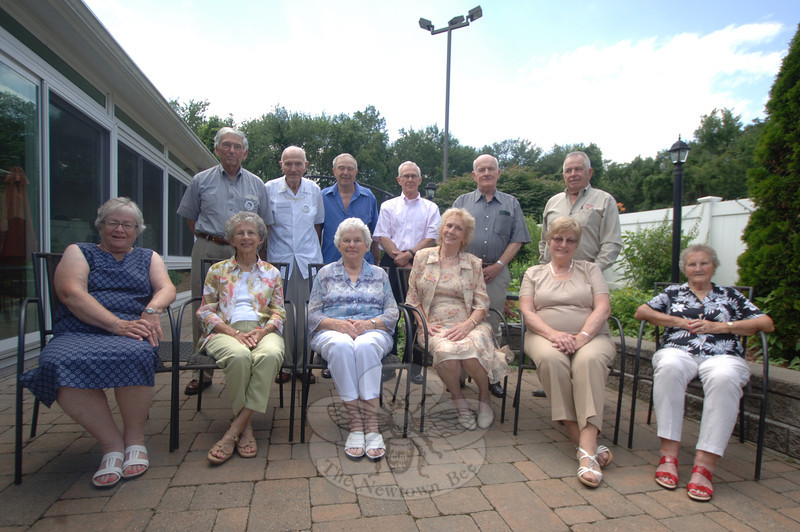 The Newtown High School Class of 1953 held its 60th reunion in Newtown at the family restaurant 160 Main, on Sunday, July 14. Following a dinner at 1 pm, the attendees — many still living in or near Newtown and others from the New York area — gathered for a quick class photo. From left, seated, are Cynthia (Eaton) Atkinson, Sue (Bawden) Abrahamsen, Barbara (McGurn) Anderson, Lillian (Sedor) Emmons, Evie (Pendergast) Andrejczyk, and Sally (Tomlinson) O'Dell;  standing, Bob Brown, George Hanlon, Bill Lee, Andy Maye, Rich-ard Carmody, and Chuck Botsford.  (Bobowick photo)