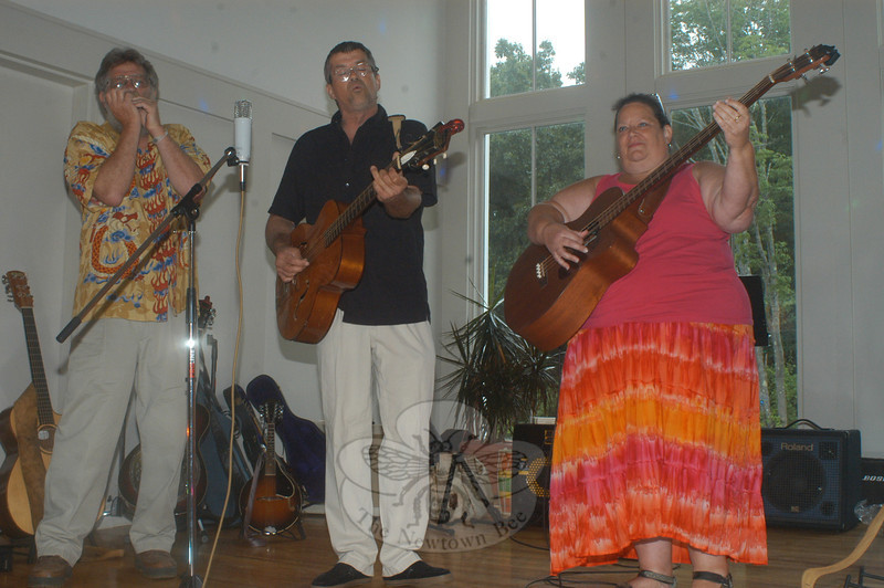 My Dad's Truck performs during Healing Newtown's Family Dance Party. Pictured are, from left, Leif Smith, Bill Wisnowski, and Susan Lang. (Hutchison photo)