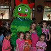 From left, Donovan McGarry, Devon Koehler, Noah Domena, Allison Nowacki, Olivia McMurray, and Morgana Goldie were among the dozens of children thrilled to find Yo Gabba Gabba! character Brobee at My Place Restaurant, Tuesday morning, July 23. Yo Gabba Gabba! is a popular Nick Jr network children's television program. The Character Breakfast with Brobee was the first of three scheduled at the Queen Street eatery this summer. Children will find Winnie the Pooh and Darth Vader at upcoming breakfast events. (Crevier photo)