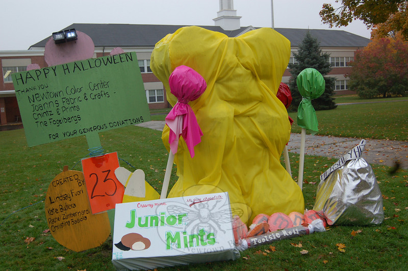 """Candy,"" created by Rachel Zambernardi, Lindsay Fuori, Kate Butera and Christina Badiola, raised $368.55 in votes, winning the 2009 Newtown Middle School Sculpted Scarecrow Contest. The girls plan to donate the money collected through votes to one of Newtown's food pantries.  (Hallabeck photo)"