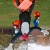 "Brittany Pearson and Ryanne Duffy, who created ""Cat in The Hat,"" finished in third place in the 2009 NMS Sculpted Scarecrow Contest.  (Hallabeck photo)"