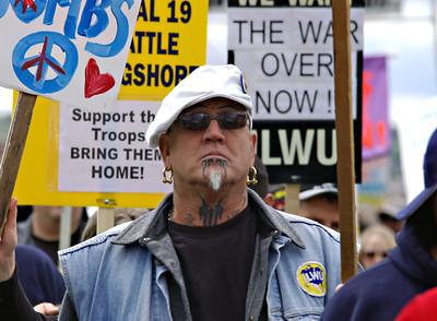 Longshoreman in Seattle ILWU May Day Strike 2008