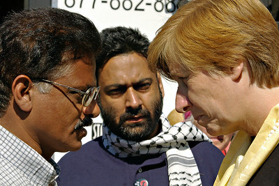 Talking with Cindy Sheehan  in Vancouver, Canada. 2006