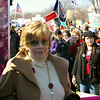 Jane Fonda waiting to speak at a rally<br /> Washington DC<br /> 2007