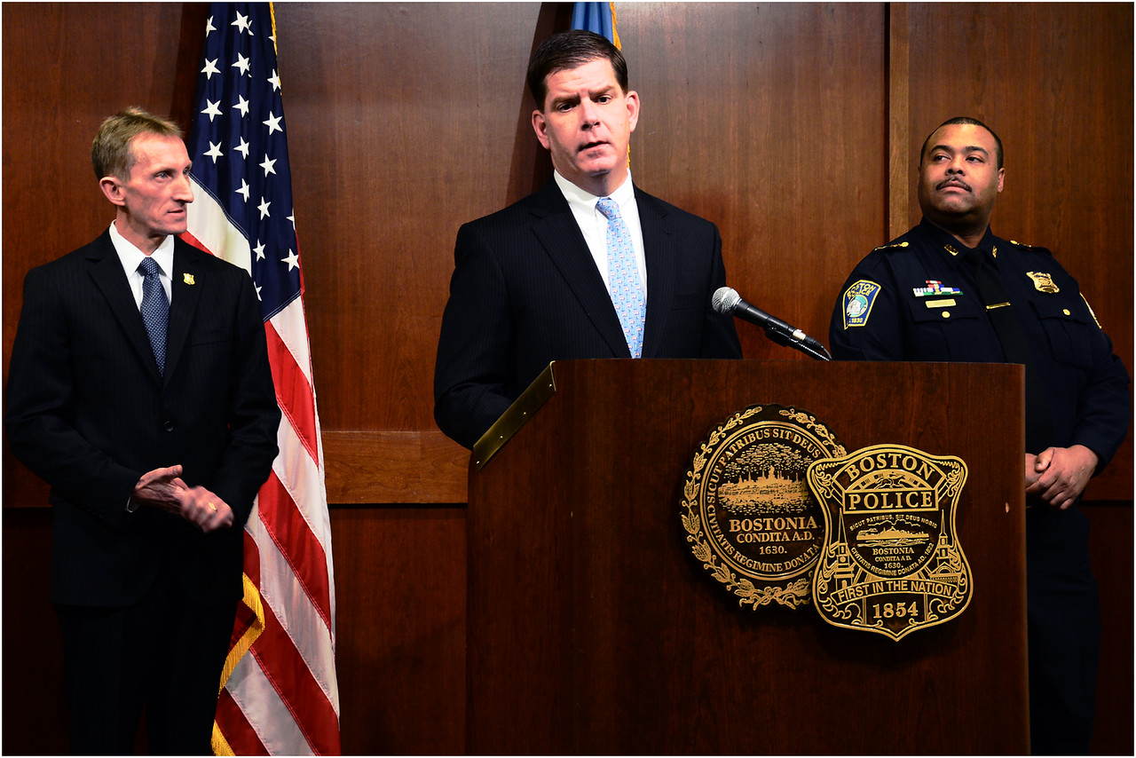 Mayor Marty Walsh announces the appointment of the Boston PolieceDepartment's new commissioner, William Evans (left), and its first African-American superintendent in chief, William Gross (right).