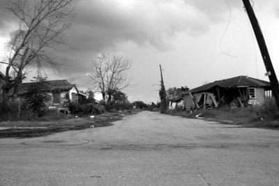 View of street in the Lower Ninth Ward. Taken one year after Hurricane Katrina.