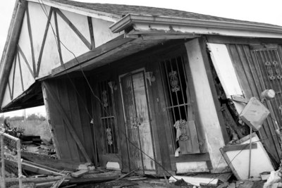 Hurricane Katrina, damaged home in the Lower Ninth Ward.One year later.