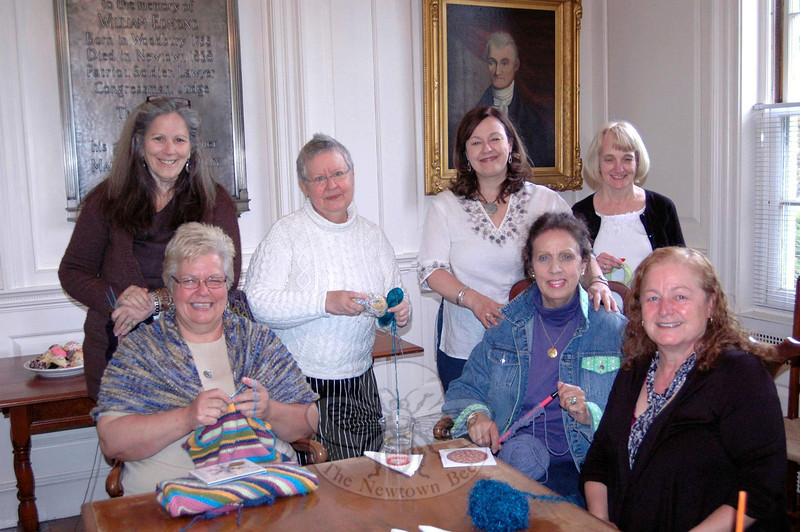 Flagpole Radio Café special guest Christine Lavin, standing second from left, hosted a knitting circle in The Mary Hawley Room of Edmond Town Hall prior to her performance on May 18.   (Gibson photo)