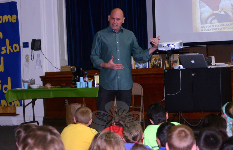 "A day before a ""Turning the Page, New Stories for Newtown"" event was held at Newtown Middle School for residents, authors and illustrators arrived in the school district on Friday, May 17, to visit with students. Jon Scieszka gave a presentation to Hawley Elementary School students. (Francke photo)"