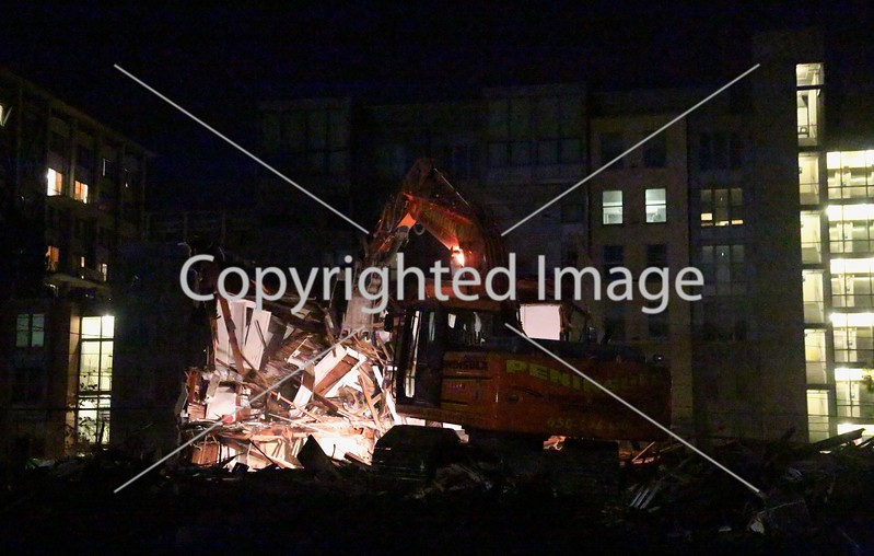 Building demolition in Berkeley, California