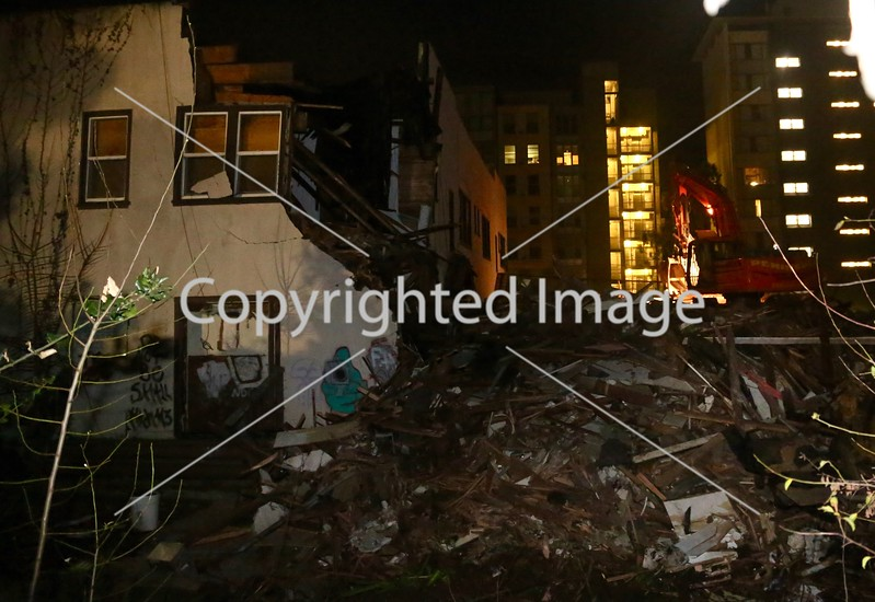 Building demolition in Berkeley, California