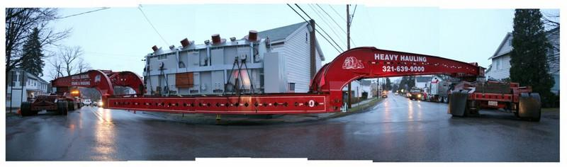 BLAINE FALKENA/Hazleton Standard-Speaker<br /> An oversized load truck hauling a transformer got stuck at the intersection of Routes 940 and 437 in White Haven Thursday afternoon, December 4th, 2008. The truck was 235 feet long and weighed 432,004 pounds. The transformer itself weighed 235,000 pounds.
